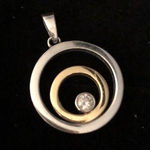 Sterling Silver & 14K Gold Round Pendant w/CZ❤️
